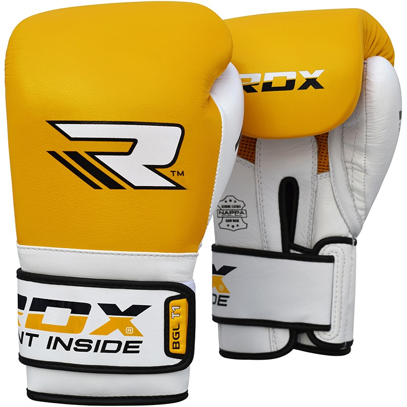 Купить Перчатки для бокса RDX Leather Mauy Thai Boxing Gloves BGX-T1 Yellow, 9170_yl_wh