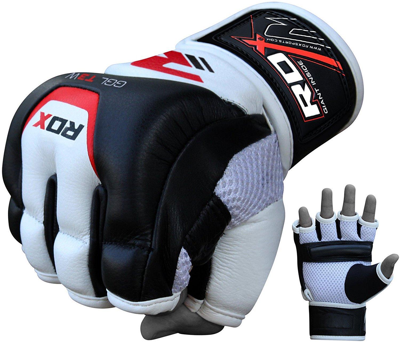Купить Перчатки для ММА RDX Leather Gel Tech MMA TGX-01 Уценка (L), 5634_bk_wh