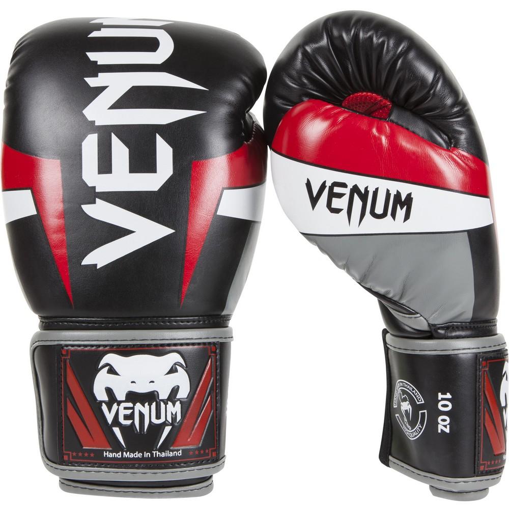 Купить Перчатки для бокса Venum Elite Boxing Gloves - Black/Red/Grey, 3962_bk_rd_gy
