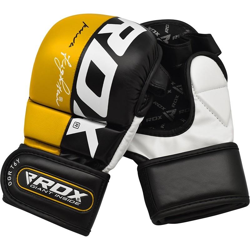 Купить Перчатки для ММА RDX Blue Leather Grappling Gloves for Muay Thai GGL T6Y, 6293_yl