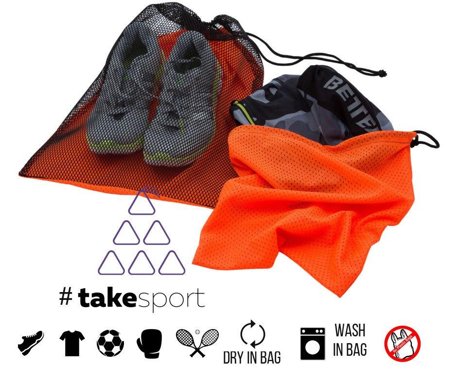 Купить Мешок с сеткой для обуви TAKE SPORT Orange 35 х 45, 4433_or