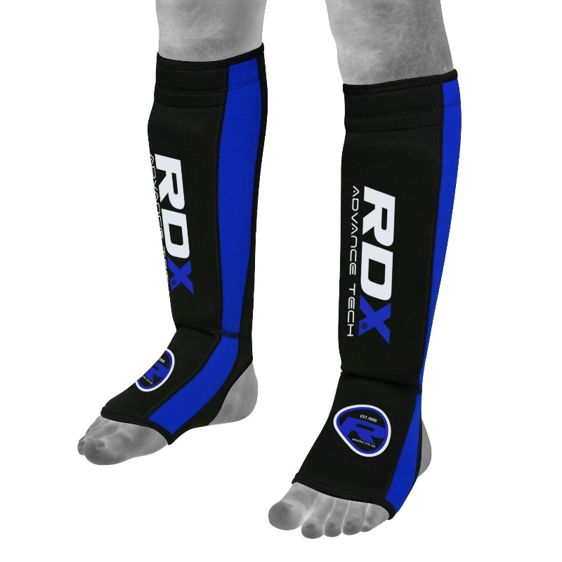 Купить Щитки RDX Neoprene Gel Shin Instep Pads MMA Leg Foot Guards Blue, 9956_bk_bl