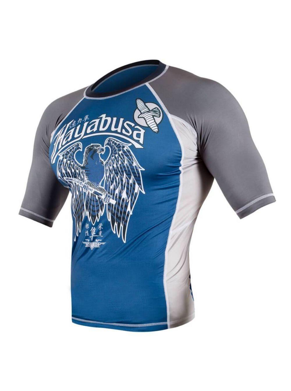 Купить Рашгард Hayabusa Showdown Short Sleeve- Grey/Blue, 6374_gy_bl