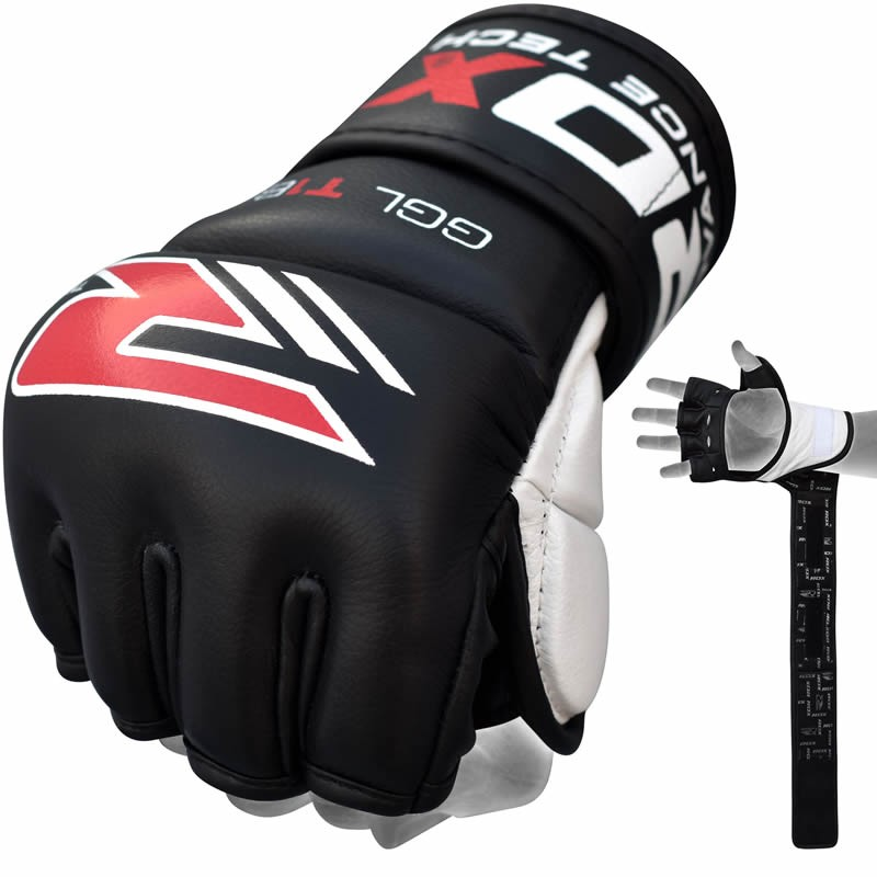Купить Перчатки для ММА RDX Leather Gel Tech Grappling Gloves, 9278_bk