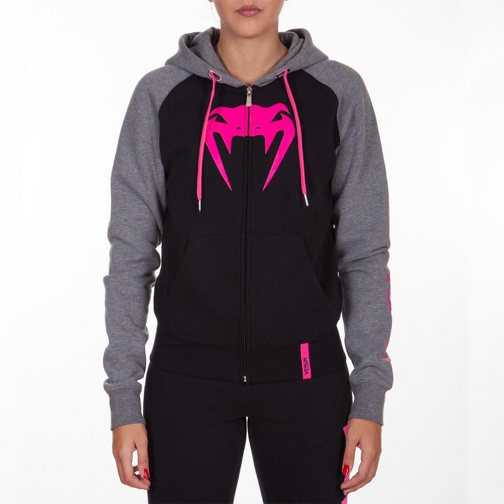 Купить Толстовка женская Venum Infinity Hoody with zip Black/Grey For Women, 4090_bk_gy_pk