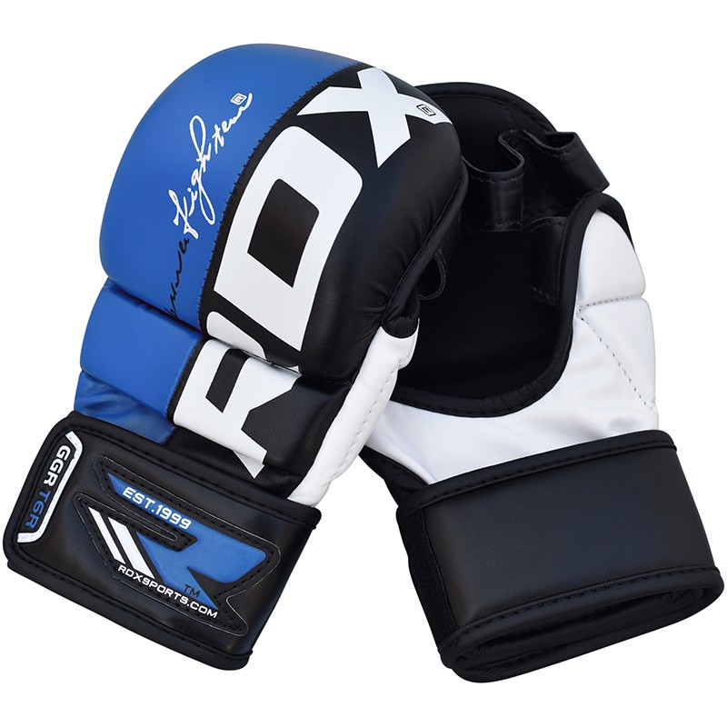 Купить Перчатки для ММА RDX Blue Leather Grappling Gloves for Muay Thai GGL T6U, 6293_bl