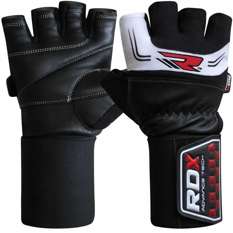 Купить Перчатки для пауэрлифтинга RDX Pro Weight Lifting Gloves Black/White&, 9968_bk_wh