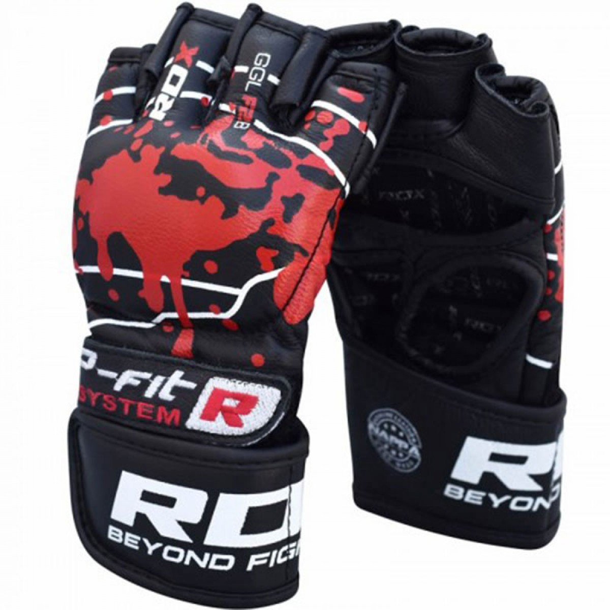 Купить Перчатки для ММА RDX Grappling Gloves Blood Double Strap Black, 9864_bk_rd