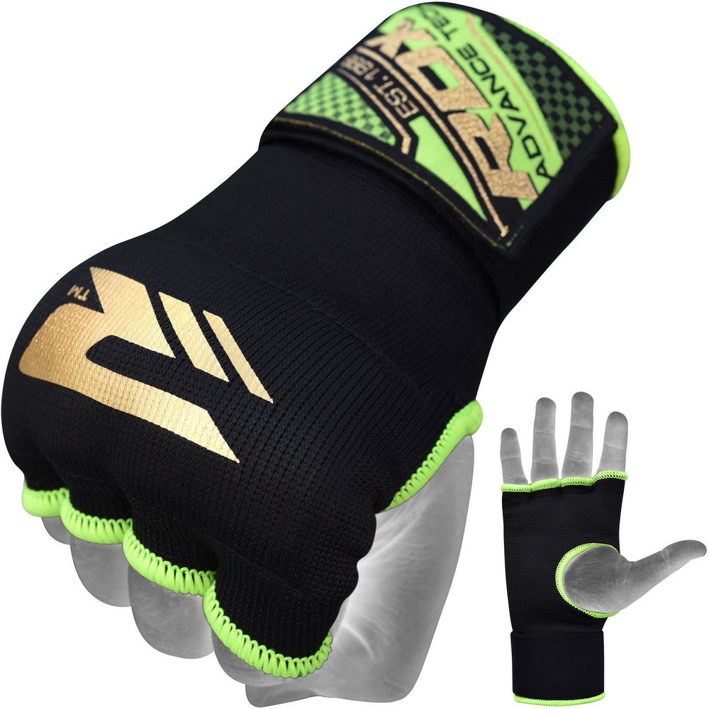 Быстрые бинты RDX Inner Hand Wraps Gloves Boxing Black/Green