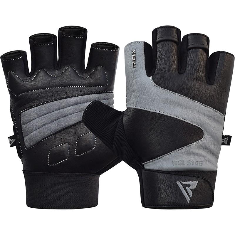 Купить Перчатки для пауэрлифтинга RDX Gym Gloves Leather S14 Gray, 5202_bk_gy