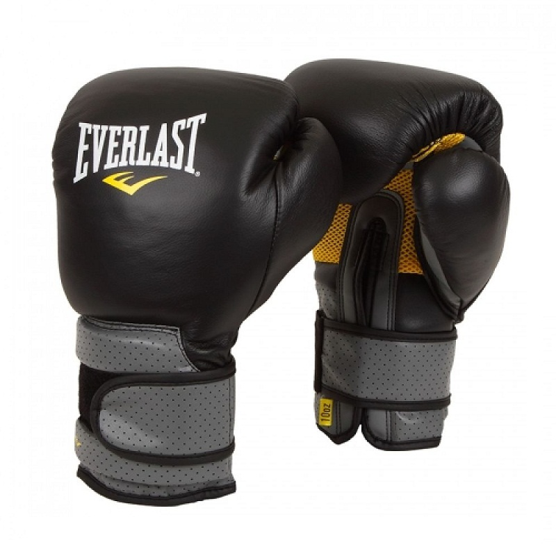 Купить Перчатки боксерские Everlast Pro Leather Strap Black/Grey, 6430_bk_gy