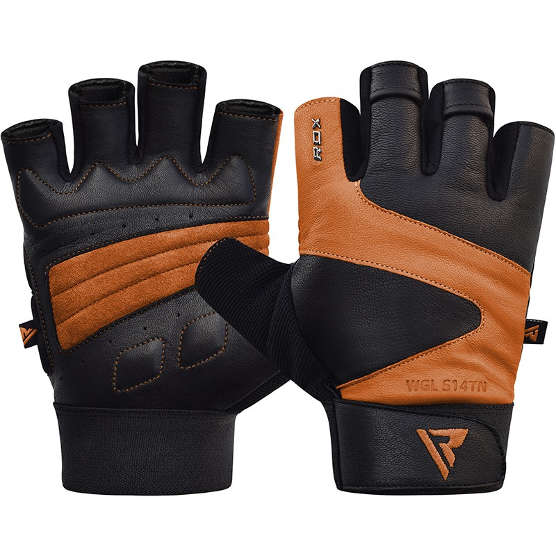 Купить Перчатки для пауэрлифтинга RDX Gym Gloves Leather S14 Tan, 5202_bk_br