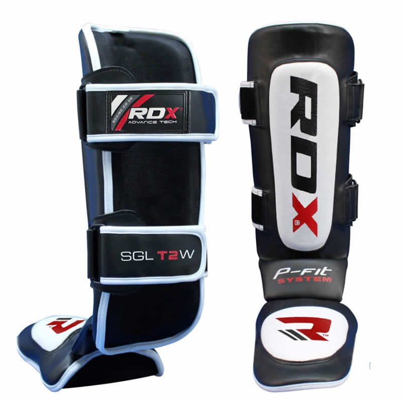 Купить Щитки RDX Leather Muay Thai Shin Instep Pad Black/White, 9406_bk_wh