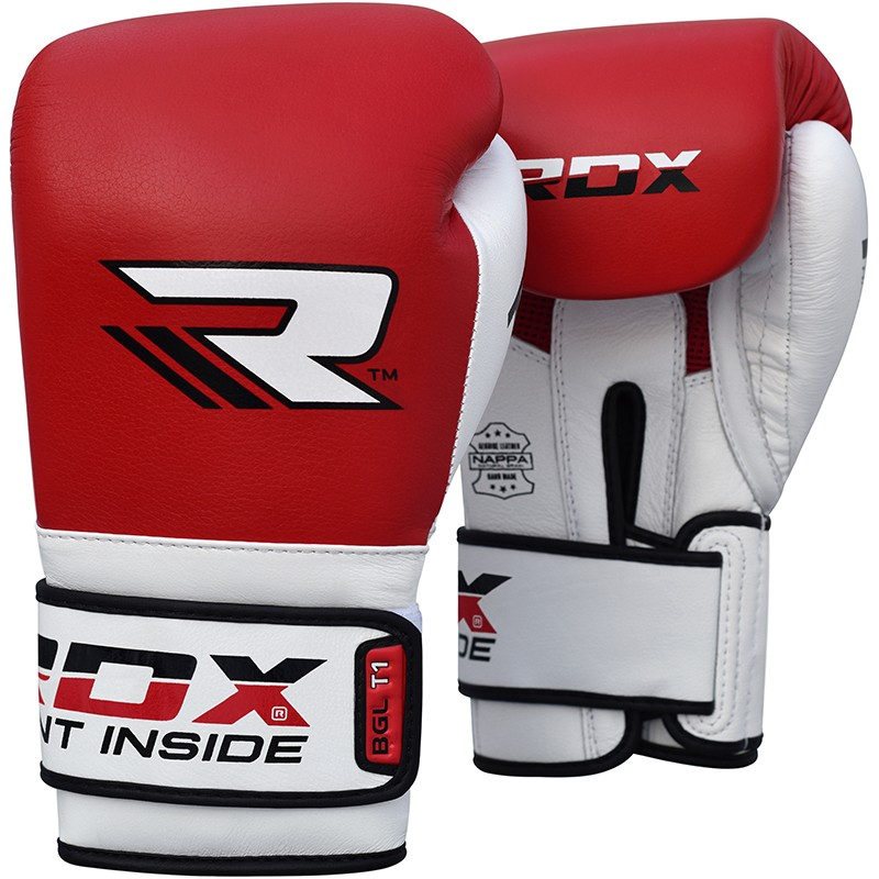 Купить Перчатки для бокса RDX Leather Mauy Thai Boxing Gloves BGX-T1 Red/White, 9170_rd_wh